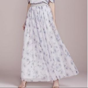 Floral watercolor pastel tulle maxi skirt